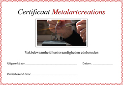 Certificaat Metalartcreations