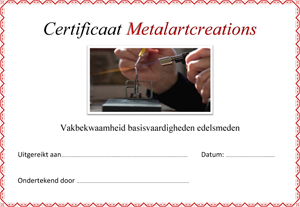 Certificaat-Metalartcreations